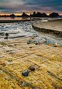 Colorful seaside rock patterns in Hill Creek near Seal Rock State Recreation Site, on the Oregon coast, USA. We stayed at the adjacent Seal Rocks RV Cove.