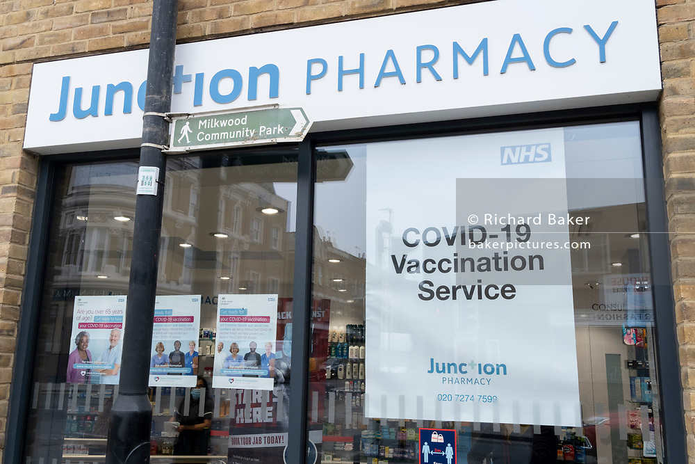 An exterior of a south London Pharmacy which is performing pre-arranged Covid-19 vaccinations during the third lockdown of the Coronavirus pandemic, on 2nd March 2021, in London, England.