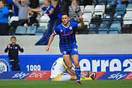 GOAL Ian Henderson celebrates making it 2-0 during the EFL Sky Bet League 1 match between Rochdale and Gillingham at Spotland, Rochdale, England on 15 September 2018.