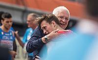Friidrett<br /> EM Europamesterskapet 2016<br /> Amsterdam 07.07.216<br /> Foto: Eirik Førde / Digitalsport<br /> <br /> Karsten Warholm - Norge<br /> Svein Arne Hansen - president EA