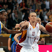 Galatasaray's Ivanka MATIC (R) during their woman Euroleague group A matchday 5 Galatasaray between Lotos Gdynia at the Abdi Ipekci Arena in Istanbul at Turkey on Wednesday, November 09 2011. Photo by TURKPIX