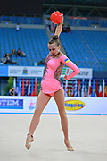 Rizatdinova Anna during final at ball in Pesaro World Cup at Adriatic Arena on April 12, 2015. Anna was born July 16, 1993 in Simferopol, she is a Ukrainian individual rhythmic gymnast.