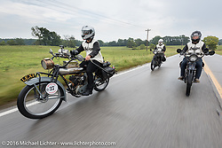 Jared Rinker riding his 1916 Indian with twin brother Justin and father Steve riding behind on their 2016 Indians during the Motorcycle Cannonball Race of the Century. Stage-5 from Bloomington, IN to Cape Girardeau, MO. USA. Wednesday September 14, 2016. Photography ©2016 Michael Lichter.