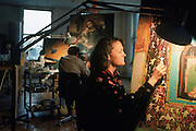 Art conservator Dana Cranmer at work in her studio.