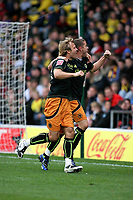 Michael Gray and Michael Kightly  (Wolverhampton Wanderers) celebrate Gray's goal<br /> Watford vs Wolverhampton Wanderers at Vicarage Road Watford. Coca Cola Championship. 25/10/2008.<br /> Credit Colorsport / Shaun Boggust