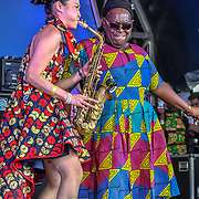 London, UK. 21th July, 2019. Royal Sounds feat. Dawn Penn with Megumi Mesaku is a Japanese saxophonist with Lambeth Country Show 2019 a family festival with live music food & drinks, Arts and Culture and animal show at Brockwell Park, London.