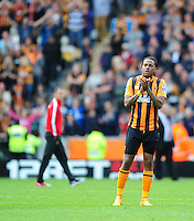 Hull City's Abel Hernandez at the final whistle after his sides relegation from the Barclays Premier League is confirmed<br /> <br /> Photographer Chris Vaughan/CameraSport<br /> <br /> Football - Barclays Premiership - Hull City v Manchester United - Sunday 24th May 2015 - Kingston Communications Stadium - Hull<br /> <br /> © CameraSport - 43 Linden Ave. Countesthorpe. Leicester. England. LE8 5PG - Tel: +44 (0) 116 277 4147 - admin@camerasport.com - www.camerasport.com