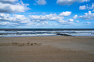 Photo of an empty beach in Spring Lake NJ  in the morning as autumn approaches.