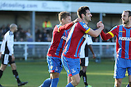 Crystal Palace Scott Dann celebrates his first goal during the The FA Cup Third Round match between Dover Athletic and Crystal Palace at Crabble Athletic Ground, Dover, United Kingdom on 4 January 2015. Photo by Phil Duncan.
