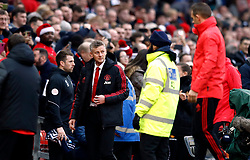 Manchester United interim manager Ole Gunnar Solskjaer walks out for the Premier League match at Old Trafford, Manchester.