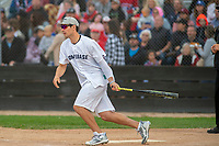 KELOWNA, CANADA - JUNE 28: NHL Montreal Canadiens goalie Carey Price runs for first base during the opening charity game of the Home Base Slo-Pitch Tournament fundraiser for the Kelowna General Hospital Foundation JoeAnna's House on June 28, 2019 at Elk's Stadium in Kelowna, British Columbia, Canada.  (Photo by Marissa Baecker/Shoot the Breeze)
