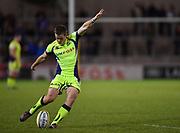Sale Sharks stand-off AJ McGinty converts Jennings try during the The Aviva Premiership match Sale Sharks -V- London Irish  at The AJ Bell Stadium, Salford, Greater Manchester, England on September 15, 2017. (Steve Flynn/Image of Sport)