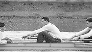 London. United Kingdom.  1987 Pre Fixture, Varsity Boat Race. National Squad vs Cambridge University BC on the Championship Course Mortlake to Putney. River Thames.  Saturday 21.03.1987<br /> <br /> [Mandatory Credit: Peter SPURRIER/Intersport images]<br /> <br /> CUBC.  right. Jim GARMAN, Paddy BROUGHTON and Cox. Julian WOLFSON 19870321 Pre Boat Race fixture, National Squard vs Cambridge UBC, London UK