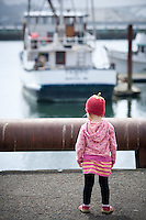 Madeline Chaney, age 2, on the dock at Newport Bay Harbor in Oregon