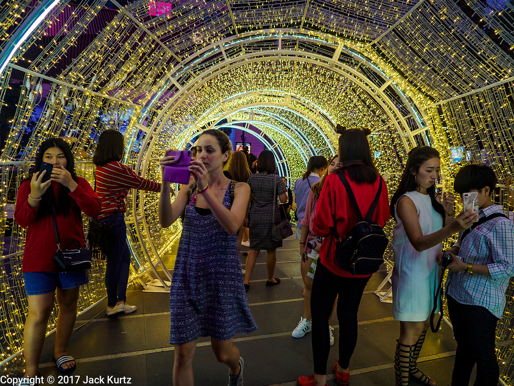 15 DECEMBER 2017 - BANGKOK, THAILAND:  at Central World, a mall in Bangkok. Thailand is a Buddhist majority country, but the holiday of Christmas is a widely celebrated commercial holiday and many Thais participate in gift giving.    PHOTO BY JACK KURTZ