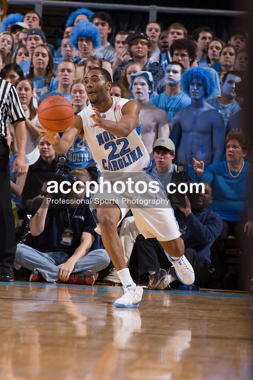 10 February 2008: North Carolina Tar Heels guard Wayne Ellington (22) during a 93-103 (2OT) win over the Clemson Tigers at the Dean Smith Center in Chapel Hill, NC.