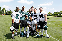 The Philadelphia Eagles 2014 Draft Class pose for a photo after the Philadelphia Eagles NFL football rookie camp at the teams practice facility on Saturday, May 17, 2014. From left to right: Jaylen Watkins #37, Jordan Matthews #81, Josh Huff #11, Taylor Hart #97, Ed Reynolds #30, Beau Allen #94, and Marcus Smith II #90 kneeling. (Photo by Brian Garfinkel)
