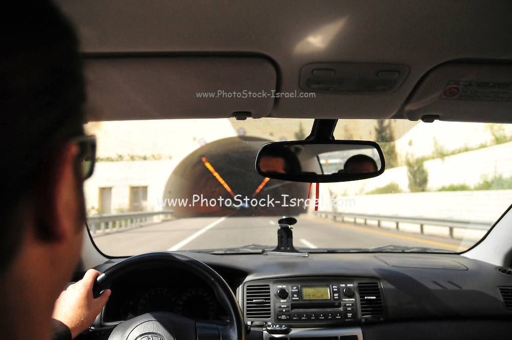 Israel, Highway tunnels as seen from within an approaching car
