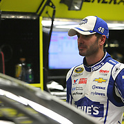 Jimmie Johnson is seen as he waits to practice during the 56th Annual NASCAR Daytona 500 practice session at Daytona International Speedway on Wednesday, February 19, 2014 in Daytona Beach, Florida.  (AP Photo/Alex Menendez)