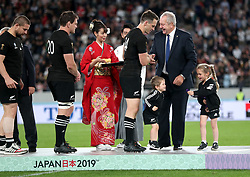 New Zealand's Ben Smith received his medal from Chairman of World Rugby Bill Beaumont during the 2019 Rugby World Cup bronze final match at Tokyo Stadium.