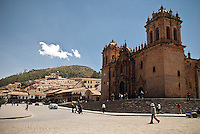 Wide shot of the Cathedral of Santo Domingo in Cusco, Peru
