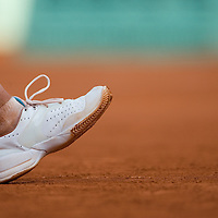 03 June 2007: Details of Swiss player Patty Schnyder as she serves to Maria Sharapova during the French Tennis Open fourth round match, won 3-6, 6-4, 9-7 by Maria Sharapova against Patty Schnyder, on day 8 at Roland Garros, in Paris, France.
