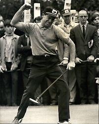 Oct. 08, 1966 - Gary Player beats Nicklaus and Retains his Piccadilly World match-play Championship: South African golf star Gary Player retained his Piccadilly World Match-Play championship at Wentworth today, when he beat the American Jack Nicklaus 6 and 4. Photo shows Gary Player appears to be in an angry mood - but actually he is relieving the tension following the stroke which sank a birdie two. (Credit Image: © Keystone Press Agency/Keystone USA via ZUMAPRESS.com)