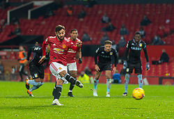 MANCHESTER, ENGLAND - Friday, January 1, 2020: Manchester United's Bruno Fernandes scores the winning second goal from a penalty kick during the New Year's Day FA Premier League match between Manchester United FC and Aston Villa FC at Old Trafford. The game was played behind closed doors due to the UK government putting Greater Manchester in Tier 4: Stay at Home during the Coronavirus COVID-19 Pandemic. (Pic by David Rawcliffe/Propaganda)