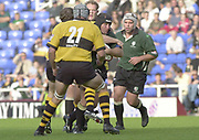 Reading, Berkshire, 29/09/02<br /> London Irish vs Wasps,<br /> Exiles Naka DROTKE, tackled as he tries to break the line, during the ZURICH PREMIERSHIP RUGBY match at the Madejski Stadium,  [Mandatory Credit: Peter Spurrier/Intersport Images],