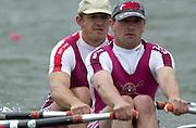 Nottingham, National Rowing Championship.<br /> 2001 Championships<br /> Photo Peter Spurrier.<br /> <br /> Sat 21th July 2001<br /> <br /> Marlow men's double. Bow XXXXX stroke John TETLEY <br /> <br /> M2X     [Mandatory Credit;Peter SPURRIER;Intersport Images] 20010723 National Rowing Championships, Nottingham. UK