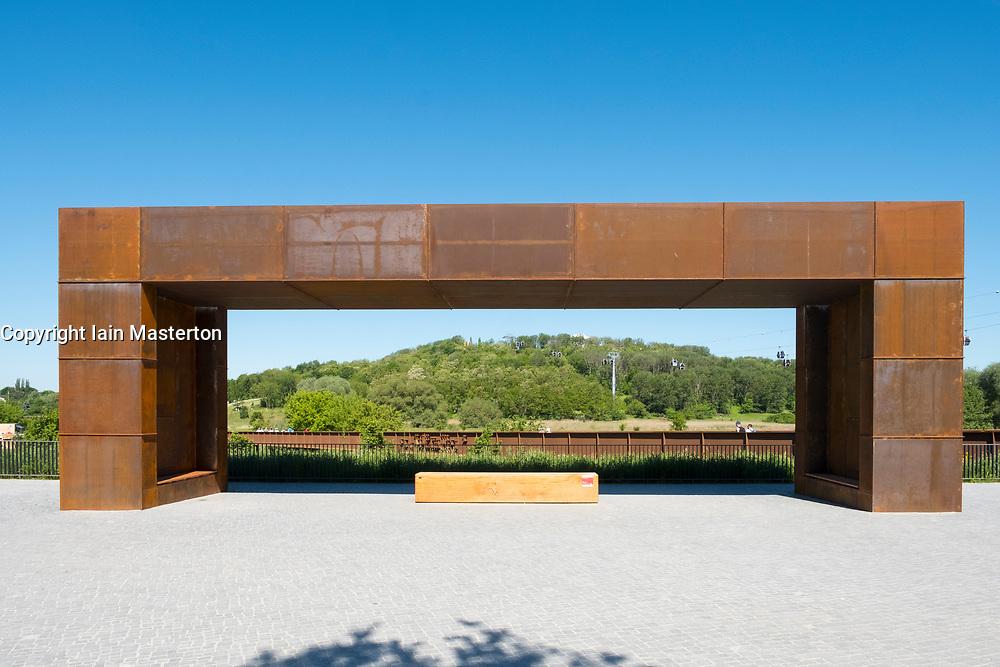 Steel sculpture at IGA 2017 International Garden Festival (International Garten Ausstellung) in Berlin, Germany