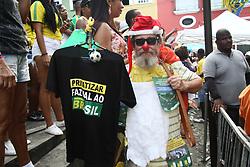 June 17, 2018 - Salvador, Brazil - SALVADOR, BA - 17.06.2018: TORCIDA BRASIL EM SALVADOR - Man protests in the crowd, in Pelourinho, in Salvador, for the Brazilian National Team in the Russian Cup. (Credit Image: © Mauro Akin Nassor/Fotoarena via ZUMA Press)