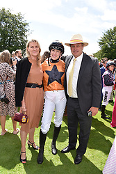 29 July 2021 - The QATAR Goodwood Festival Ladies Day at Goodwood Racecourse, West Sussex.<br /> Picture Shows - Lady Tatiana Mountbatten with her parents Lady Spencer and the Marquess of Milford Haven<br /> <br /> NON EXCLUSIVE - WORLD RIGHTS