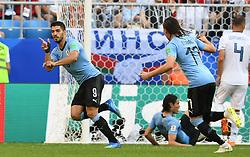 SAMARA, June 25, 2018  Luis Suarez (1st L) of Uruguay celebrates scoring during the 2018 FIFA World Cup Group A match between Uruguay and Russia in Samara, Russia, June 25, 2018. (Credit Image: © Du Yu/Xinhua via ZUMA Wire)
