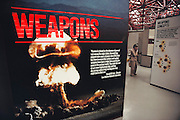 At Los Alamos, New Mexico, on the grounds of the Los Alamos National Lab, the Bradbury Science Center puts a positive spin on the development of nuclear weapons with historical displays. Exhibits have sanitized versions of nuclear weapons casings and hand-on nuclear weapons design stations.