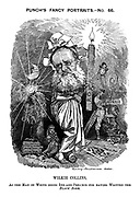 Punch's Fancy Portraits.-No.66. Wilkie Collins, As the Man in White doing Ink-and-Penance for having written the Black Robe.