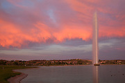 The fountain at sunset, Fountain Hills and East of Phoenix, Arizona.