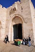 Israel, Jerusalem, Old city Jaffa gate square outside the walls near the David citadel