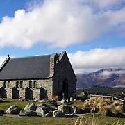 The Church of the Good Shepherd situated on the shores of Lake Tekapo.  It was the first church built in the Mackenzie Basin in 1935 and is now an iconic tourist attraction. Lake Tekapo, South Island, New Zealand, 8th June 2011. Photo Tim Clayton.