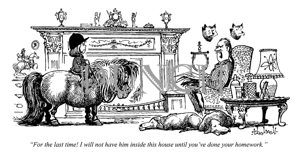 """The Thatched Living Room. """"For the last time! I will not have him inside this house until you've done your homework."""""""