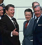 Washington, DC 1985/03/01, President Reagan at the diplomatice entrance of the White House with Casper Weinberger, Donald Regan<br /><br />Photograph by Dennis Brack