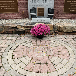 Closeup of the Sunbury Fire Department Memorial in Sunbury, Pennsylvania