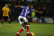 Troy Archibald-Henville of Exeter City in action.  EFL Skybet football league two match, Newport county v Exeter City  at Rodney Parade in Newport, South Wales on New Years Day, Monday 1st January 2018.<br /> pic by Andrew Orchard,  Andrew Orchard sports photography.