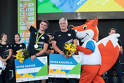 Peter Kauzer jr. and Peter Kauzer during reception of Slovenian Olympic Team at BTC City when they came back from Rio de Janeiro after Summer Olympic games 2016, on August 26, 2016 in Ljubljana, Slovenia. Photo by Matic Klansek Velej / Sportida