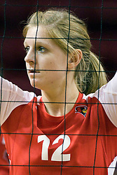 13 October 2012: Emily Schneider during an NCAA volleyball game between the Drake Bulldogs and the Illinois State Redbirds.  The Redbirds won the match in 3 straight sets at Redbird Arena in Normal Illinois