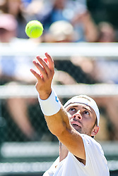 July 19, 2018 - Newport, RI, U.S. - NEWPORT, RI - JULY 19: Tim Smyczek (USA) serves to Jason Jung (TPE) during their quarterfinal match up of the Dell Technologies Hall of Fame Open at the International Tennis Hall of Fame in Newport, Rhode Island on July 19, 2018. Smyczek won the match 6-1, 5-7, 6-4 and advanced to the semifinals. (Photo by Andrew Snook/Icon Sportswire) (Credit Image: © Andrew Snook/Icon SMI via ZUMA Press)