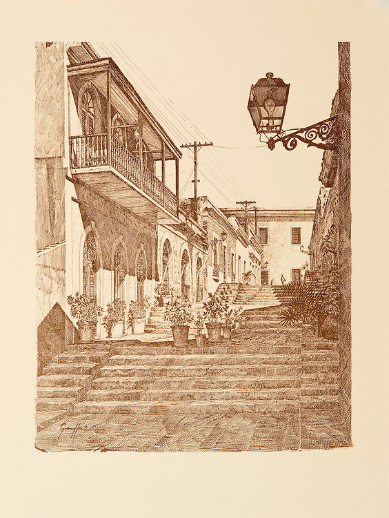 """Catalog #06 - Lithographic print of Pen and Ink drawing of a street in old San Juan, Puerto Rico known as Street of Stairs (Calle de las Escaleras), better known as the Hospital Alley (Callejon del Hospital), XVII century. This print is part of a series printed on antique colored paper.<br /> Paper size is 10x13"""". Image size is approximately 8x10"""" <br /> Catalogo #06 - Impresión litográfica de un dibujo a plumilla de una calle en el Viejo San Juan, Puerto Rico, conocida como Calle de las Escaleras, mejor conocida como Callejon del Hospital, siglo XVII. Esta impresión es parte de una serie impresa en papel estilo antiguo.<br /> Tamaño del papel es 10x13"""". Tamaño de la imagen es aproximadamente 8x10"""""""