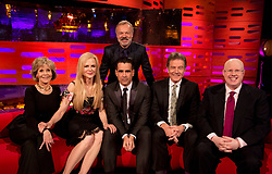 Host Graham Norton with (left to right) Jane Fonda, Nicole Kidman, Colin Farrell, Bryan Cranston, and Matt Lucas during filming of the Graham Norton Show at the London Studios, to be aired on BBC One on Friday evening.