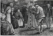 Almshouse residents visited by well-dressed lady. Illustration for 'Whiteladies', ondon, 1875, by Margret Oliphant.