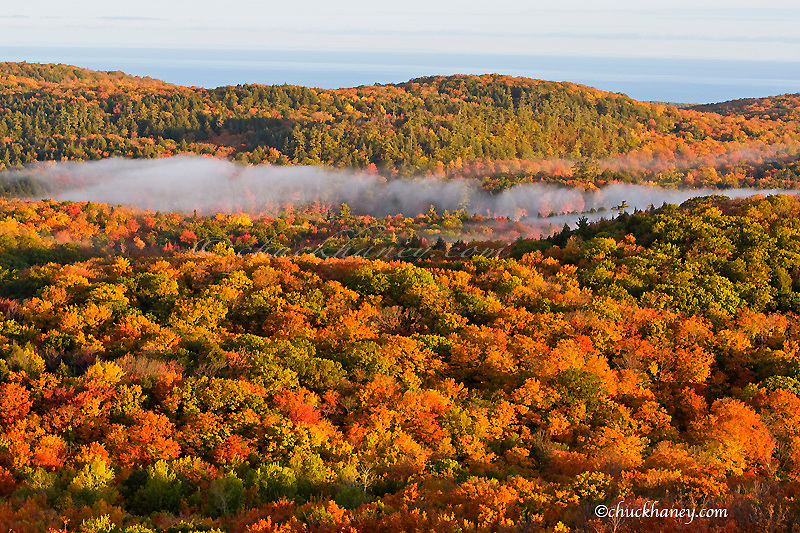 Autumn view from Summit Peak in the Porcupine Mountains State Park in the UP of Michigan with Lake Superior in background